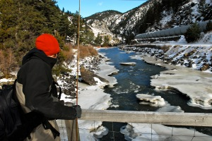 This is some near-frozen trout water in Montana that, while daunting, didn't inspire us to stay inside.